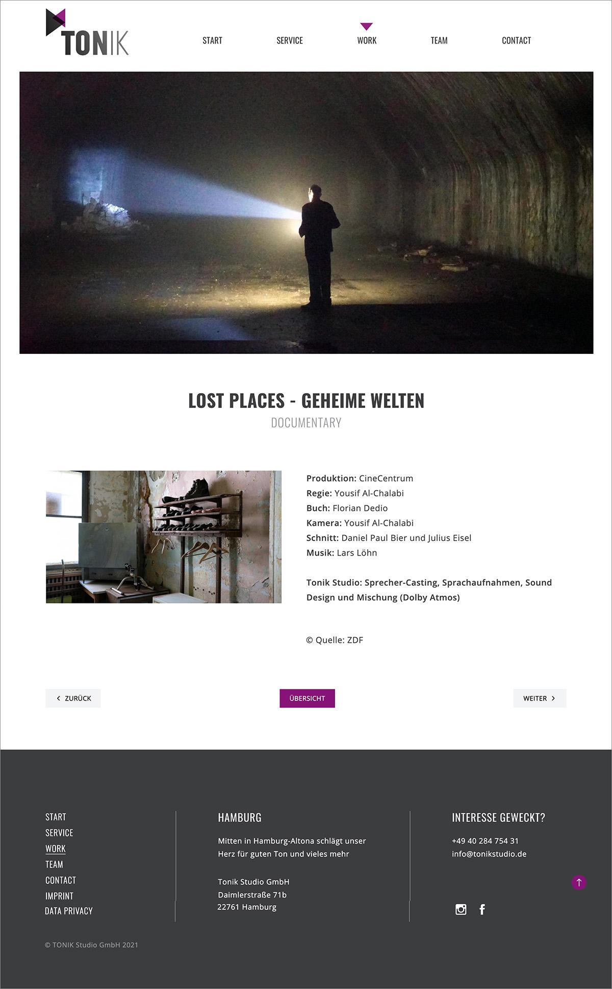 Tonik Studio Website Unterseite