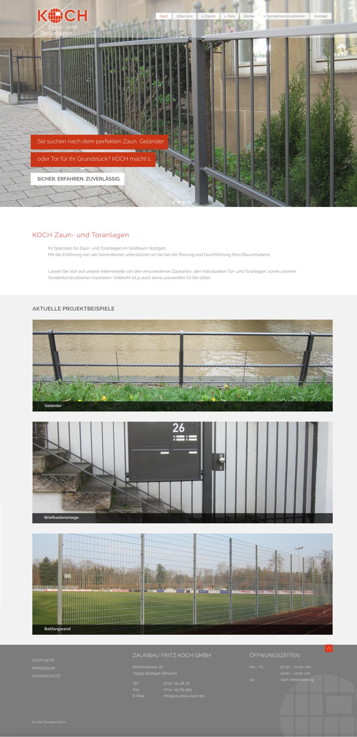 Zaunbau Koch Website